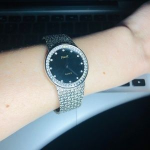 Vintage 1960 Onyx Black & Rhinestone Costume Watch